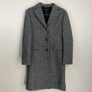 Prague Black White Wool Long Coat L